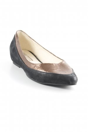 Buffalo London Lackballerinas schwarz-bronzefarben Metallic-Optik