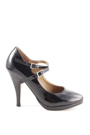 Buffalo London Mary Jane pumps zwart zakelijke stijl