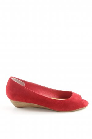 Buffalo London Peeptoe Ballerinas rot klassischer Stil