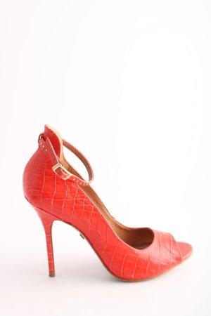 Buffalo London Peep Toe Pumps rood dierenprint elegant
