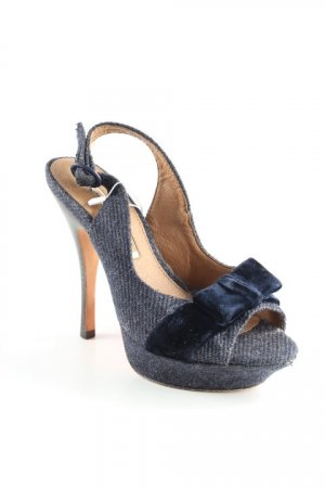 Buffalo London Peeptoe Pumps graublau Romantik-Look