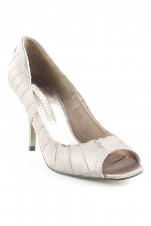Buffalo London Peeptoe Pumps hellbraun meliert Schimmer-Optik