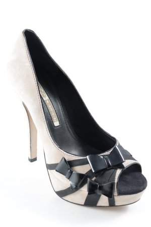 Buffalo London Peeptoe Pumps nude-schwarz Romantik-Look