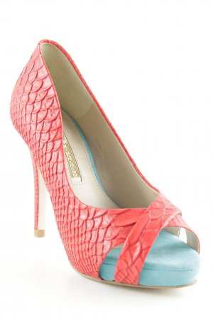 Buffalo London Peeptoe Pumps rot-hellblau Animalmuster Elegant
