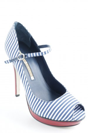 Buffalo London Peeptoe Pumps Streifenmuster 60ies-Stil