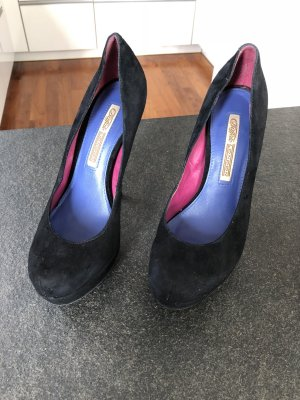 Buffalo London Plateau High Heels schwarz Velours / Gr. 39