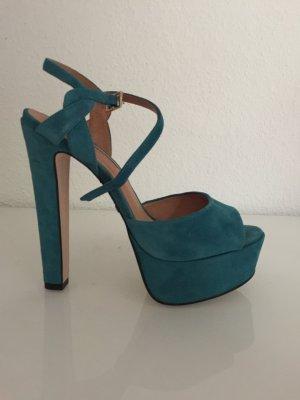 Buffalo London Platform High-Heeled Sandal turquoise suede