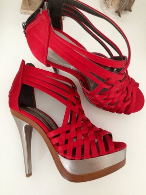 Buffalo High-Heeled Sandals red