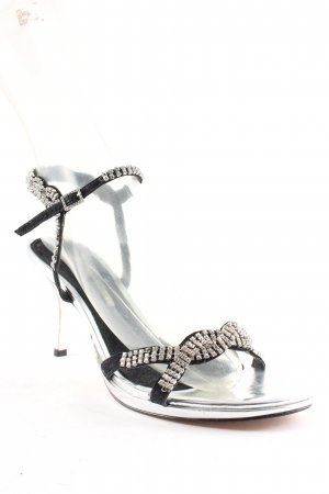 Buffalo London Strapped High-Heeled Sandals silver-colored-black elegant
