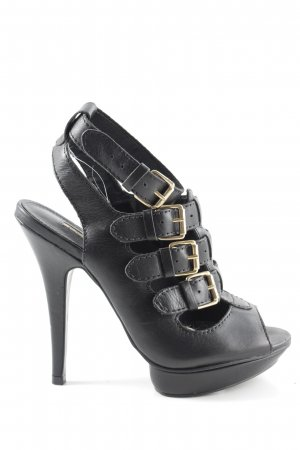 Buffalo London Riemchenpumps schwarz-goldfarben Elegant