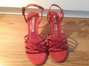 Buffalo London Strapped High-Heeled Sandals dark red leather