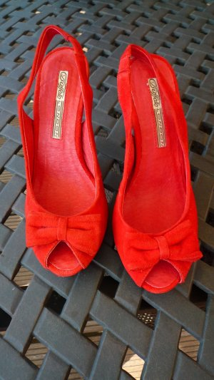 Buffalo London Platform High-Heeled Sandal red suede