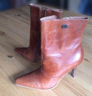 Buffalo London Zipper Booties cognac-coloured-brown leather