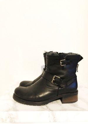 Buffalo London Stiefelette Stiefel Boots schwarz Leder Größe 39