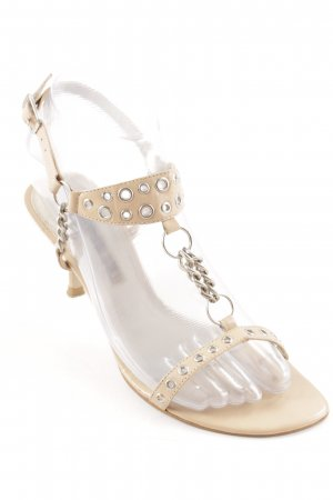 Buffalo London T-Strap Sandals nude-silver-colored party style