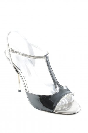 Buffalo London T-Strap Sandals black-silver-colored party style