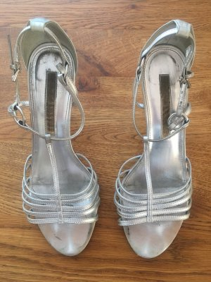 Buffalo London Strapped High-Heeled Sandals silver-colored leather
