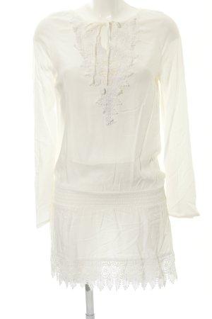 Buffalo London Blusa de túnica blanco puro estilo country