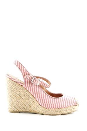 Buffalo London Wedges Sandaletten pink-weiß Streifenmuster Casual-Look