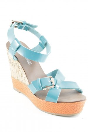 Buffalo London Wedges Sandaletten neonorange-kadettblau extravaganter Stil