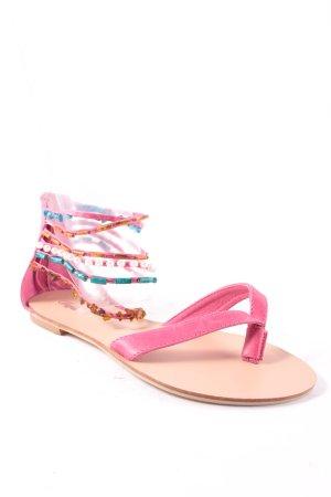 Buffalo London Zehentrenner-Sandalen pink-türkis Boho-Look