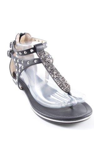 Buffalo London Sandalo toe-post nero con glitter