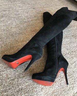 Buffalo London Overknees black-red suede