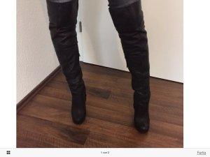 Buffalo Overknee Stiefel Echtleder schwarz High Heels