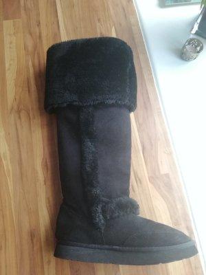 Buffalo Kniehoge laarzen zwart Kunstbont