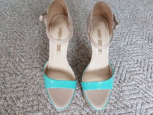 Buffalo Platform High-Heeled Sandal nude-turquoise leather