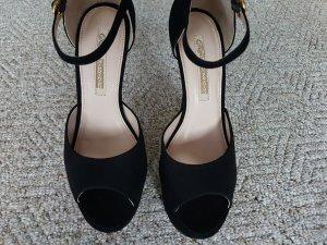 Buffalo Platform High-Heeled Sandal black suede