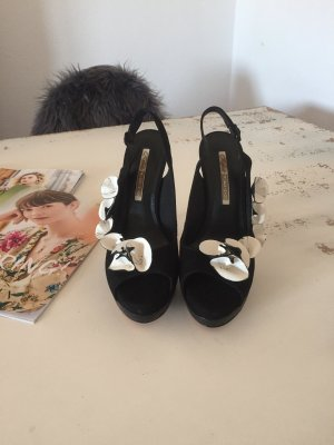 Buffalo London Peep Toe Pumps black-white
