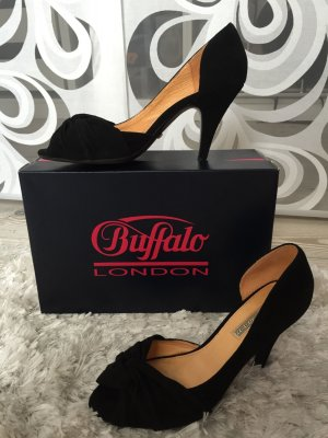 Buffalo - Peeptoe Pumps Velour Schwarz