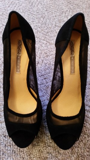 Buffalo Peep Toe Pumps black suede