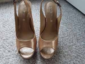 Buffalo London Platform High-Heeled Sandal gold-colored-light brown leather
