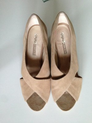 Buffalo Peeptoes Wedges Keilabsatz in Wildleder beige Gr. 40 *NEU*