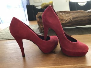 Buffalo London Peep Toe Pumps bordeaux Suede