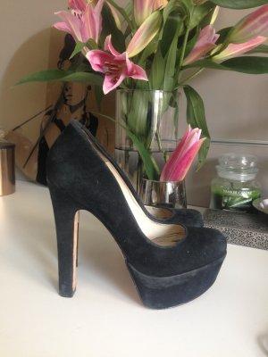Buffalo Plateau Pumps high heels hohe Schuhe Wildleder schwarz Gr 38
