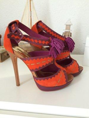 Buffalo High-Heeled Sandals orange-lilac