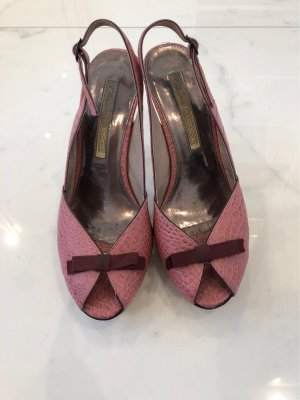 Buffalo London Plateauzool pumps stoffig roze