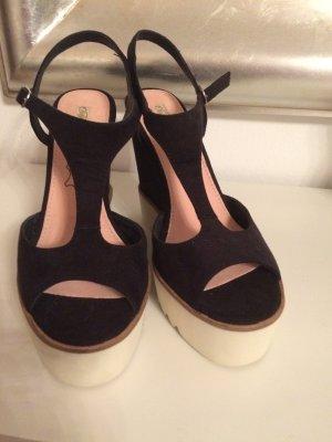Buffalo Platform High-Heeled Sandal black-cream leather
