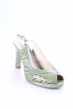 Buffalo Platform High-Heeled Sandal grass green-lime-green animal print