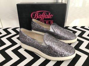 Buffalo Plateau-Slip On Gr.41 blau NEU Glitzer-Sneaker