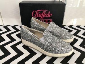 Buffalo Plateau-Slip On Gr.41 silber NEU Glitzer-Sneaker