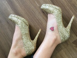 Buffalo Prinzessin Pumps Plateau Glitzer Gold Hochzeit Ball Ausverkauft