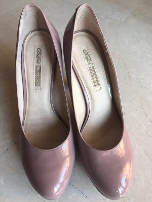 Plateauzool pumps stoffig roze