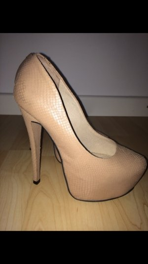 Buffalo Pumps, nude, Schlangendesign