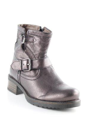 Buffalo Reißverschluss-Stiefeletten schwarz-bronzefarben Glitzer-Optik
