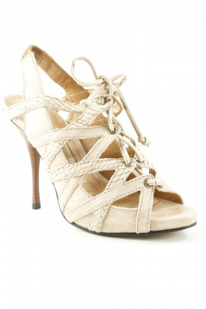 Buffalo Riemchen-Sandaletten creme-beige Party-Look