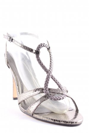 Buffalo Strapped High-Heeled Sandals sage green-silver-colored elegant